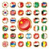 inställda africa asia knappflaggor stock illustrationer