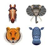 inställda afrikanska djur Geometrisk illustration av tigern, häst, stock illustrationer