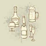 inställda alkoholdrinksymboler Royaltyfri Bild