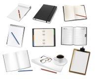 inställda anteckningsbokpapperen stock illustrationer