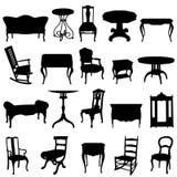 inställda antika furnitures Royaltyfria Bilder