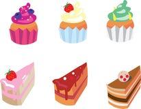 inställda aptitretande cakes vektor illustrationer
