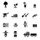 inställda arbeta i trädgården symboler för argiculture Arkivbilder