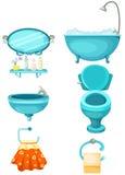 inställda badrumsymboler royaltyfri illustrationer