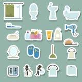 inställda badrumsymboler stock illustrationer