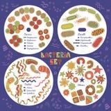 inställda bakterier vektor illustrationer