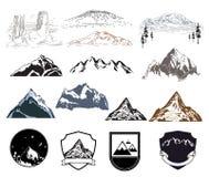Inställda bergsymboler Royaltyfri Bild