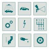 Inställda bilservicesymboler Arkivfoto