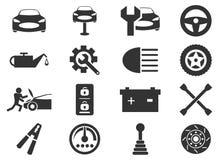 Inställda bilservicesymboler royaltyfri fotografi