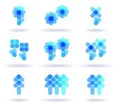 inställda blåa logoer royaltyfri illustrationer