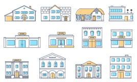 inställda byggnader Bostads- stugor, lager, galleria, skepp, museum, sjukhus, arkiv, bankbyggnad som isoleras på vit bakgrund royaltyfri illustrationer