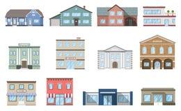 inställda byggnader Bostads- stugor, lager, galleria, skepp, museum, sjukhus, arkiv, bankbyggnad som isoleras på vit bakgrund vektor illustrationer