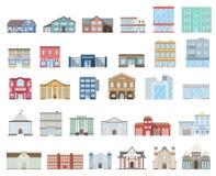inställda byggnader Stugor lager, museum, sjukhus, arkiv, bank, bio, religion, polisen, brand, skola, universitet royaltyfri illustrationer