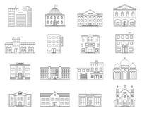 inställda byggnader inställda byggnader Stugor lager, museum, sjukhus, arkiv, bank, bio, religion, polisen, brand, skola, univers royaltyfri illustrationer