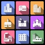 inställda byggnadssymboler Arkivbild
