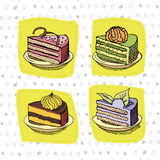 inställda cakes royaltyfri illustrationer