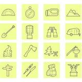 inställda campa symboler Arkivfoto
