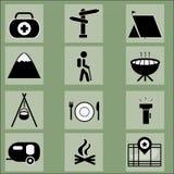 inställda campa symboler Royaltyfri Fotografi