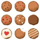 Inställda choklad kaka stock illustrationer