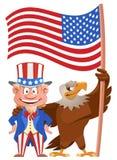 inställda dagsymbolspresidenter Tecknad filmfarbror Sam och amerikansk örninnehavamerikanska flaggan royaltyfri fotografi