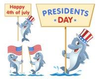 inställda dagsymbolspresidenter 4th juli Den roliga delfin rymmer amerikanska flaggan royaltyfria bilder