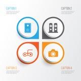inställda datorsymboler Samling av kamera, högtalare, ljudsignal apparat och andra beståndsdelar Inkluderar också symboler liksom Arkivfoton