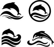 inställda delfiner stock illustrationer