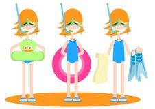 inställda dräkter för badning flickor Arkivfoton