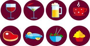 inställda drinkmatsymboler Royaltyfri Bild