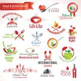inställda drinkmatsymboler vektor illustrationer