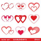 inställda dubbla hjärtor Arkivbilder