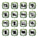 inställda elektriska symboler för anordningar stock illustrationer