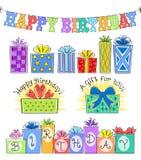 Inställda/eps födelsedagrubrik och gåva Arkivfoton