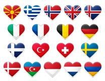 inställda europeiska flaggor stock illustrationer