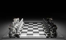 inställda färdiga stycken för schack stock illustrationer