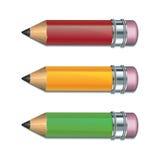 inställda färgade blyertspennor Arkivbilder