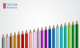 inställda färgade blyertspennor Illustration på rasterpapper Royaltyfri Bild