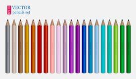 inställda färgade blyertspennor white för bakgrundsfingeravtryckillustration Arkivbilder
