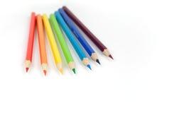 inställda färgblyertspennor Royaltyfri Bild