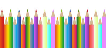 inställda färgblyertspennor Arkivbilder