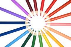 inställda färgblyertspennor Arkivfoto