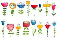 inställda färgrika blommor Arkivfoton