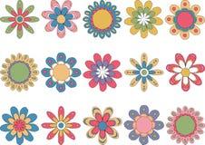inställda färgrika blommor Arkivfoto