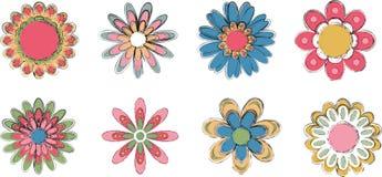 inställda färgrika blommor Arkivbilder