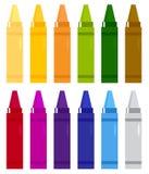 Inställda färgrika crayons Arkivfoton