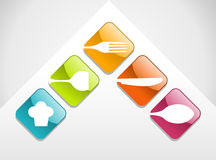 Inställda färgrika gourmet- symboler stock illustrationer