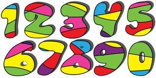 inställda färgrika nummer för tecknad film Royaltyfri Bild
