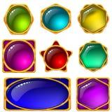 inställda färgrika symboler för knappar Arkivbild