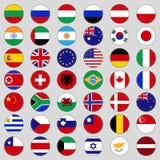 inställda flaggor Överkant berömt land Flaggor i form av en cirkel Royaltyfri Foto