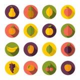 inställda fruktsymboler Royaltyfri Bild